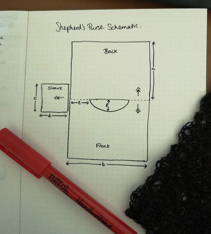 a pen and swatch sit on top of an open design journal which has a schematic of a top drawn in it.