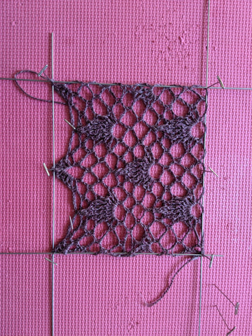 a swatch blocked using wires