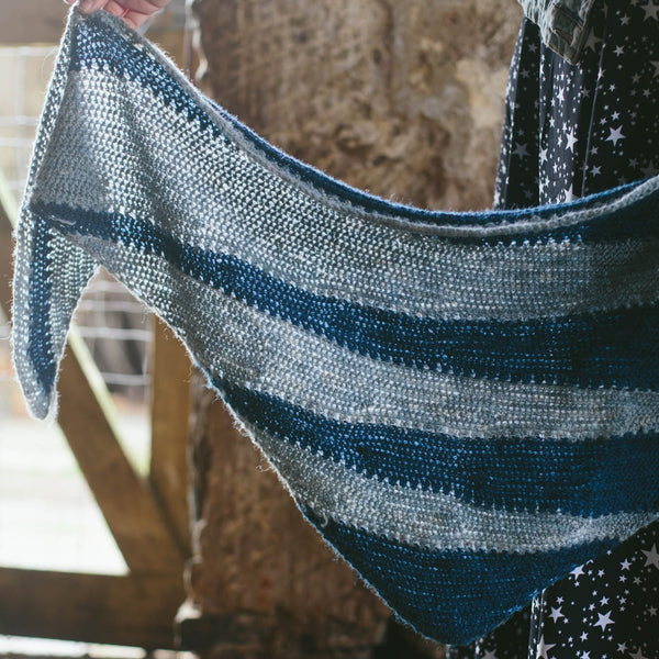 Double Denim Crochet Shawl