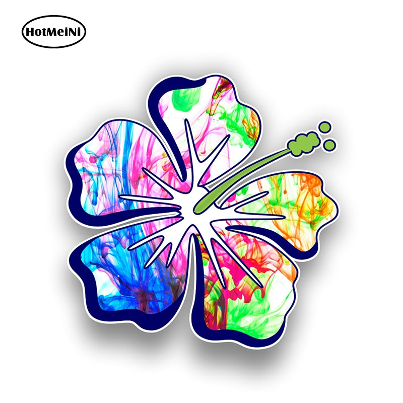 HotMeiNi 12cm X 12cm Hibiscus Flower Sticker Decal 14 Tie Dye Pattern Color Styles JDM Style Graphic Waterproof Car Styling
