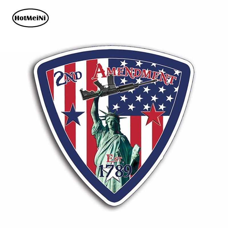 HotMeiNi 12cm X 12cm Lady Liberty 2nd Amendment Flag Sticker Decal Car Truck Laptop Graphic Cup USA Motor Auto Decoration