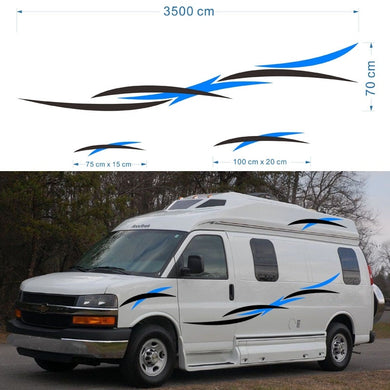 2x Art fringe pattern wings theme Car Stickers Motorhome Caravan Travel Trailer Camper Van Stripes Graphics Vinyl Graphics Kit Decals