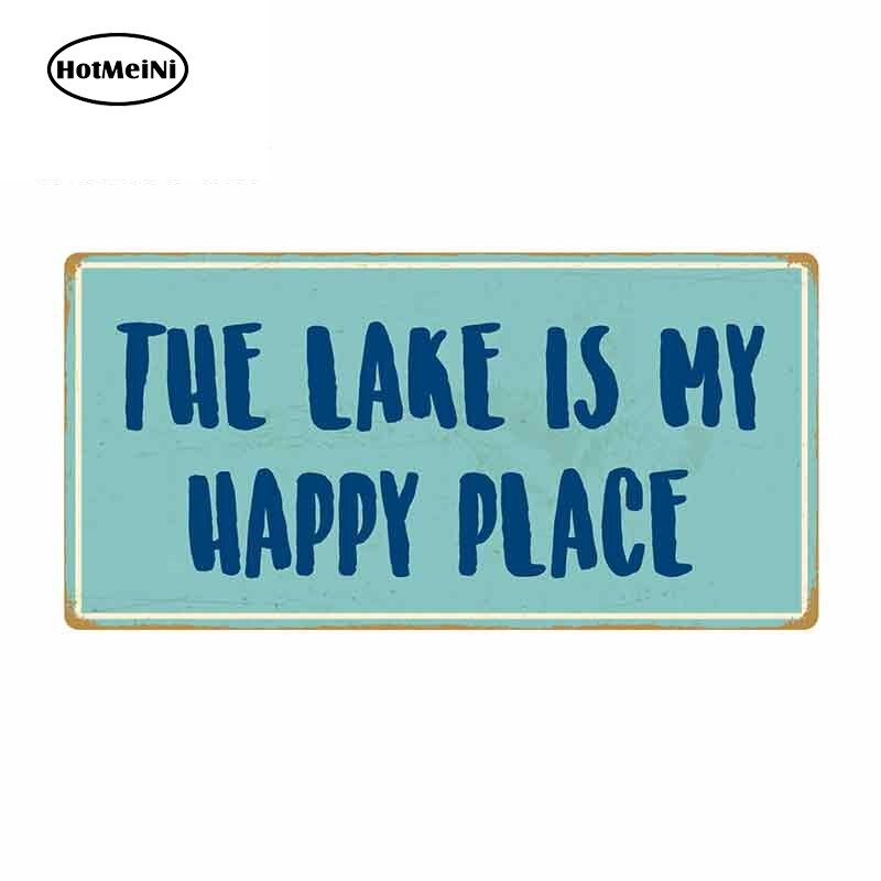 13cm x 6.6cm for The Lake Is My Happy Place Sign Car Stickers Vinyl Bumper RV VAN Car Accessories JDM Graphics