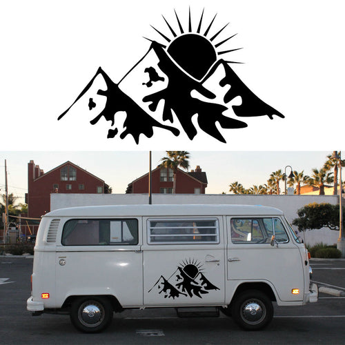 2x Snowy Sun Graphic ( one for each side) Camper Van RV Trailer Truck MotorHome Vinyl Graphics Kit Decals Door Car Stickers