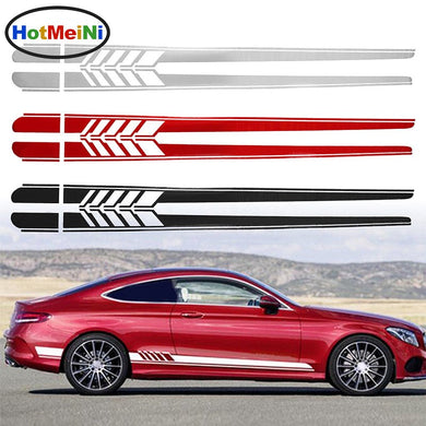 2x 205cm*9.4cm Car Side Stickers Body Decals Long Stripes Sticker For Mercedes Benz C Racing Accessories Black/Silver