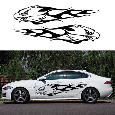 HotMeiNi Two Flame Eagle Hawk Head Mirroring  (one for each side) Decor Decals Vinyl Door Body Car Stickers JDM Euro Import