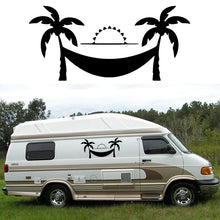 2x Coconut Tree Hammock (one for each side)  Camper Van RV Trailer Truck MotorHome Vinyl Graphics Kit Decals Door Car Stickers