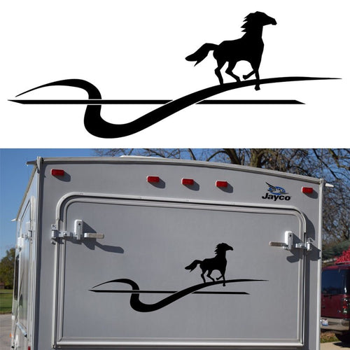 HotMeiNi 116CM*44CM Running Horse Motorhome Caravan Travel Trailer Campervan Kit Decals Vinyl Car Sticker SUV For Rear Or Bonnet