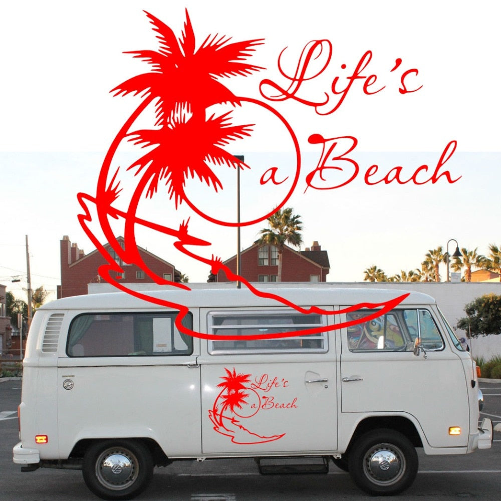 2x lifes a beach sticker camper van graphics motor home vinyl graphics kit decals car stickers