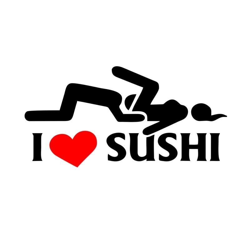 12*6cm Car-styling I Love Sushi Car Stickers Window Motorcycle JDM Vinyl Decal Car Body Funny Sticker Kayak Cool Graphic