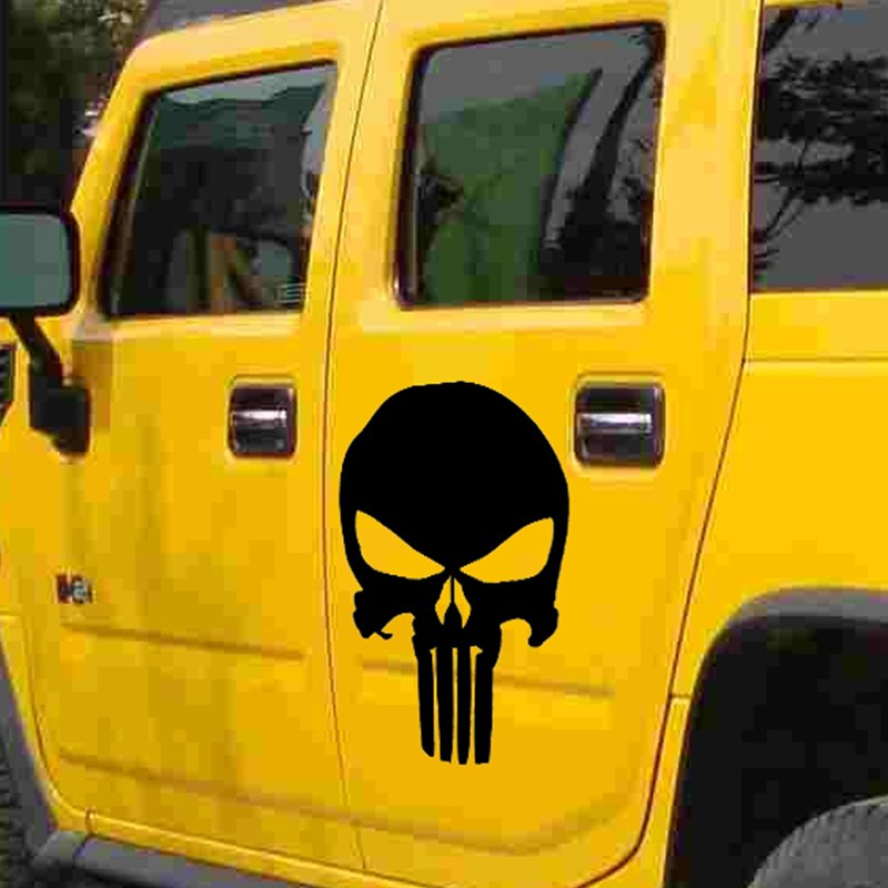 HotMeiNi 44cmx30cm Classic terror Punisher Skull Car Stickers For Cars Side Truck Window auto Door Vinyl Decals