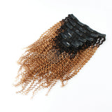 Ombre #1B/27 Kinky Curly Clip In Hair Extensions