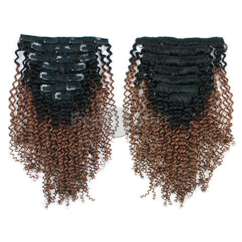 Ombre #1B/30 Kinky Curly Clip In Hair Extensions