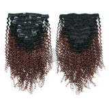 Ombre Color #1B/33 Kinky Curly Clip In Hair Extensions