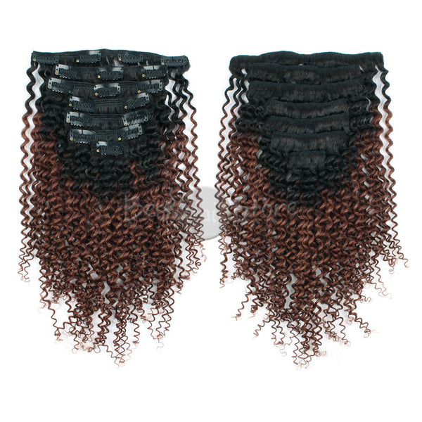 Ombre #1B/33 Kinky Curly Clip In Hair Extensions