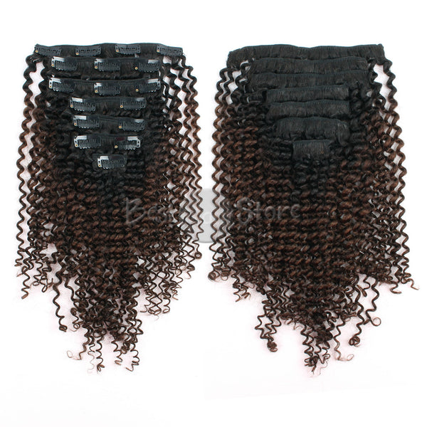 Ombre #1B/4 Kinky Curly Clip In Hair Extensions