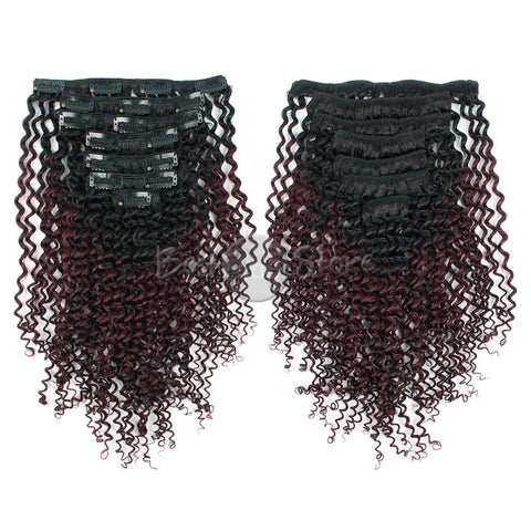 Ombre #1B/99J Kinky Curly Clip In Hair Extensions