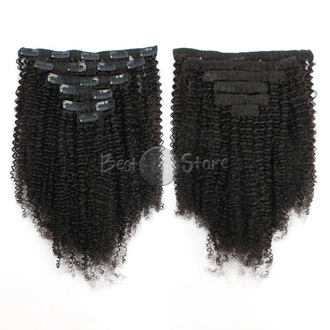 Afro Curly Natural Color Clip In Hair Human Extensions 100G