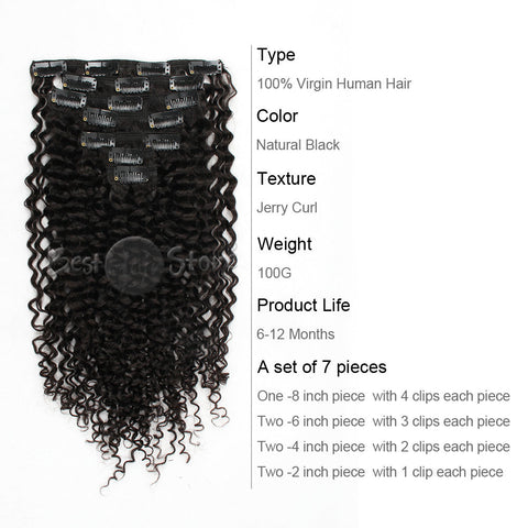Jerry Curly Grade 6A Real Human Hair Natural Color Clip In Hair Extensions 100g/Set