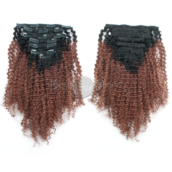 Ombre #1B/33 Afro Curly Clip In Hair Extensions