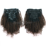Ombre #1B/4 Afro Curly Clip In Hair Extensions