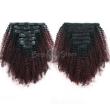 Ombre #1B/99J Afro Curly Clip In Hair Extensions