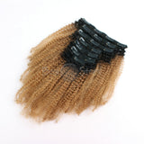 Ombre #1B/27 Afro Curly Clip In Hair Extensions
