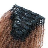 Ombre #1B/30 Afro Curly Clip In Hair Extensions