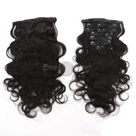 Body Wave Grade 6A Real Human Hair Natural Color Clip In Hair Extensions 100g/Set