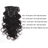 Body Wave Natural Color Clip In Hair Human Extensions 100G