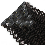 Jerry Curly Natural Color Clip In Hair Human Extensions 100G