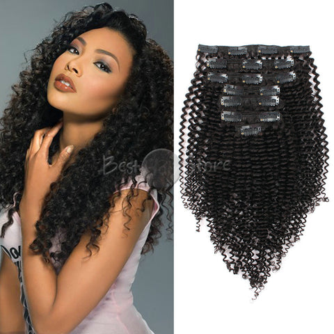"Kinky Clip In Hair Extensions Natural Color  12"" to 22"" In Stock Kinky Curly Human Virgin Hair"