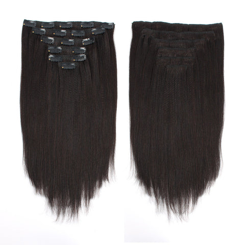 Yaki Straight Natural Color Clip In Hair Human Extensions 100G