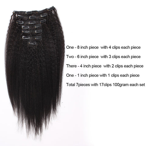 "100% Virgin Human Hair Kinky Straight Natural Color Clip In Hair Extension 18"" 100g"