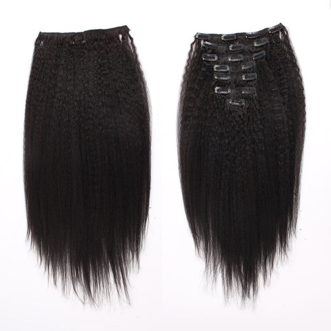 Kinky Straight Natural Color Clip In Hair Human Extensions 100G