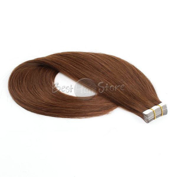 4# Chocolate Brown Tape In Hair Extensions Straight Human Hair
