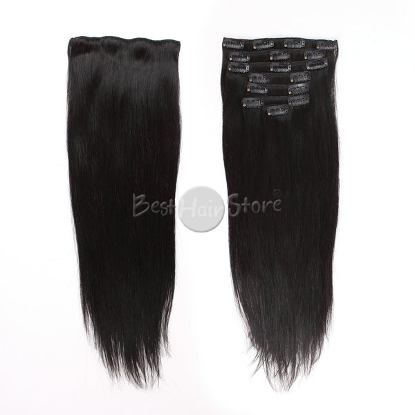 Silky Straight Natural Color Clip In Hair Human Extensions 100G