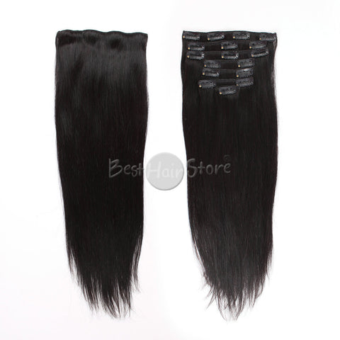 Silky Straight Grade 6A Real Human Hair Natural Color Clip In Hair Extensions 100g/Set