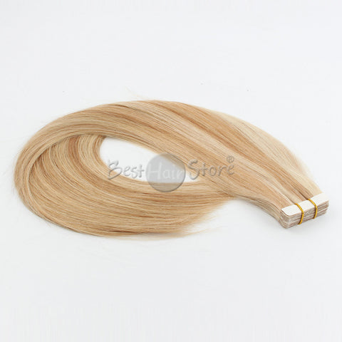 Highlight Color 12/60# Tape In Hair Extensions Straight Human Hair