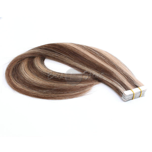 Highlight Color 4/12# Tape In Hair Extensions Straight Human Hair