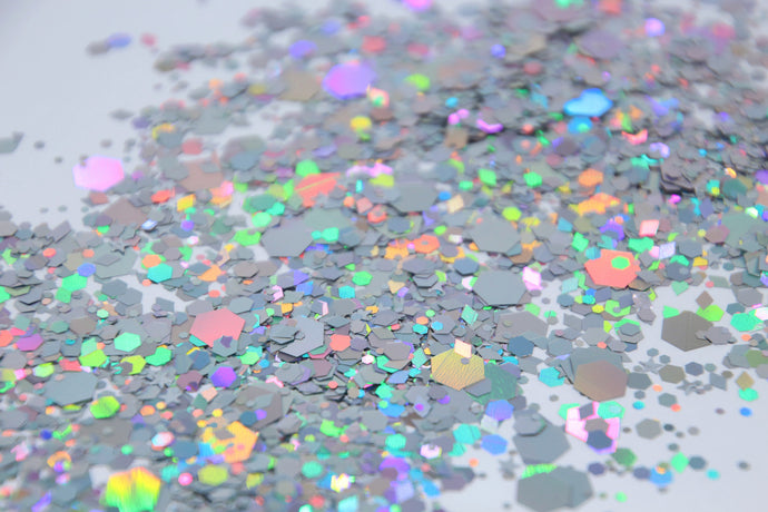 Space Cow Boy - Silver Holographic Chunky Festival Glitter