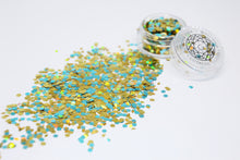 Genie - Gold & Baby Blue Chunky Glitter Make up