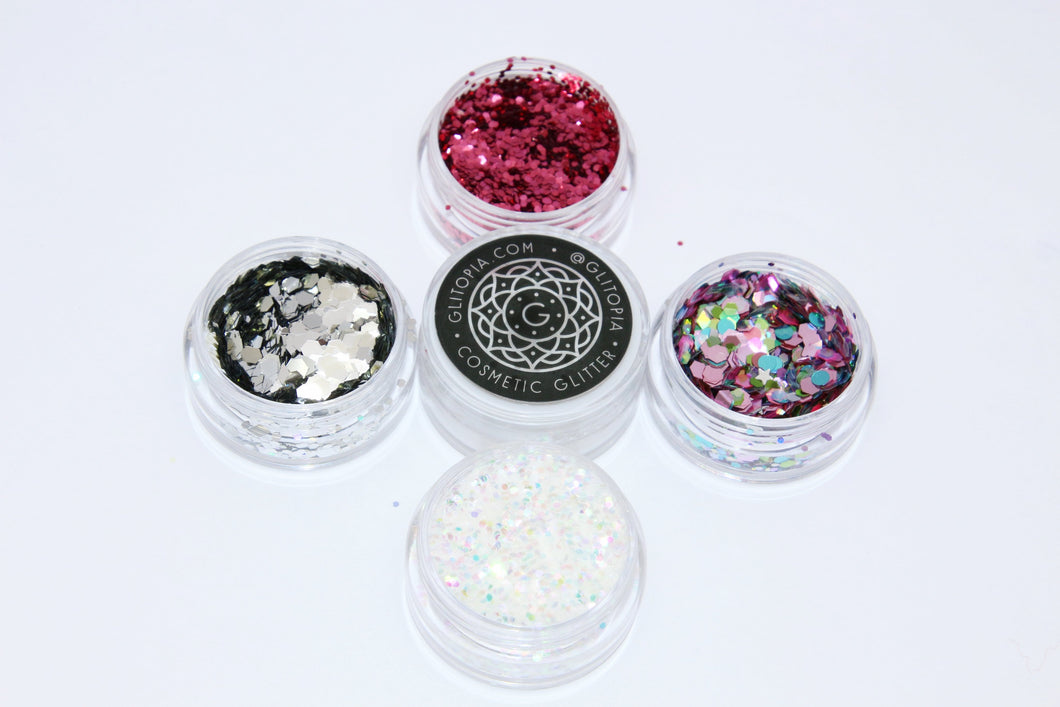 Unicorn Glitter Set - 4 Cosmetic Festival Glitter with Glitter Glue