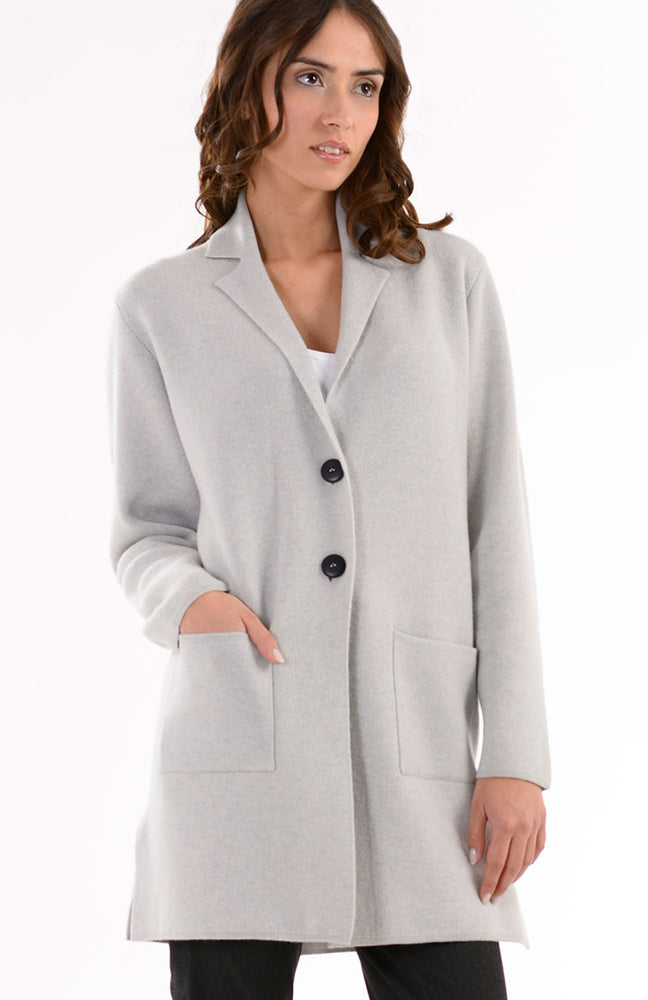 Cappotto con collo revers in puro cashmere
