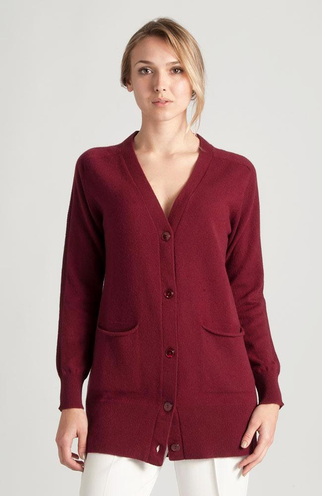 Cardigan lungo in  100% Cashmere Bordeaux