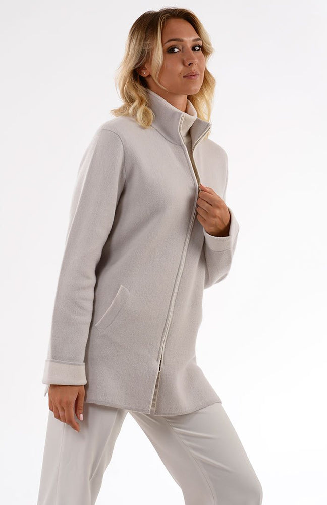Cappotto bicolore in puro cashmere con zip