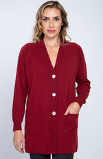 Cardigan in puro cashmere con manica a treccia, color bordeaux, davanti.