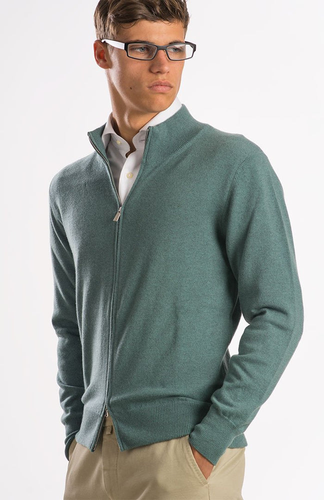 Cardigan in puro cashmere con zip