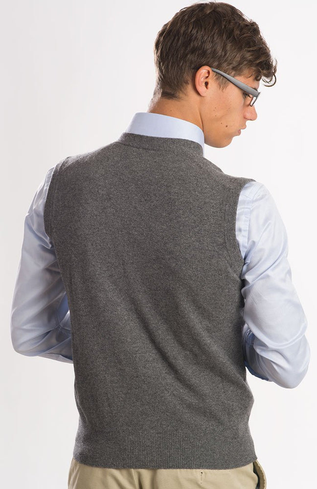 Gilet scollo v con bottoni in madreperla, 100% cashmere, color grigio mélange, dietro.