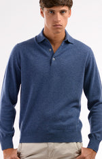 Polo 100% cashmere color jeans, davanti.